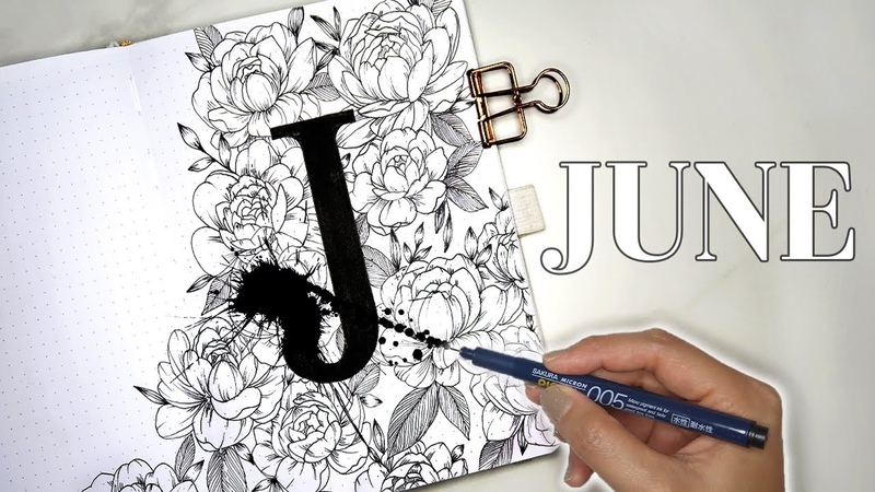 JUNE 2020 Bullet Journal Setup | PEONY PLAN WITH ME 💐 giveaway