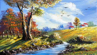Easy Landscape Painting | Step By Step Painting Tutorial | How to Paint Landscape| Scenery Landscape