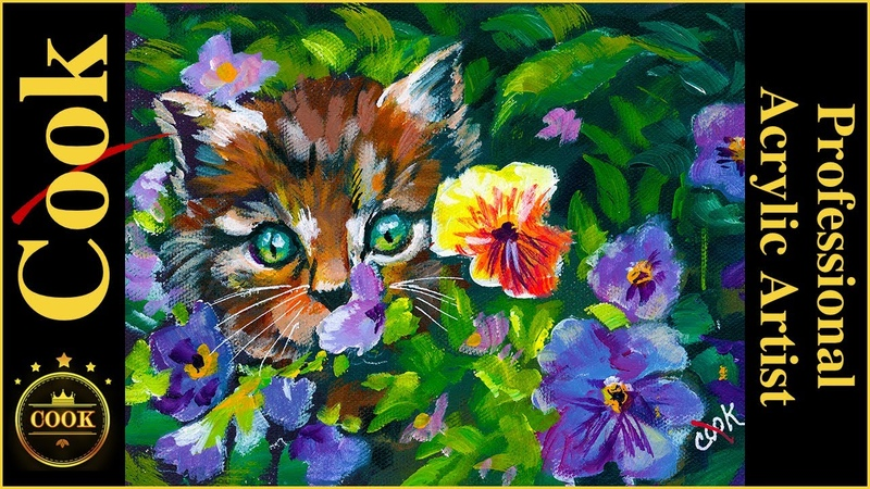 How to Paint a Cute Kitten in a Pansy Garden with Acrylic with Ginger Cook