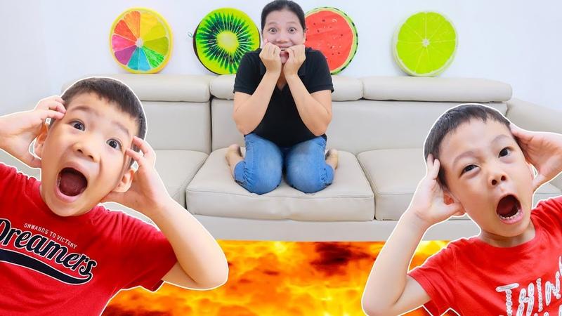 Trò chơi thử thách BiBo cứu bố mẹ thoát khỏi dung nham The floor is lava with BiBoBen