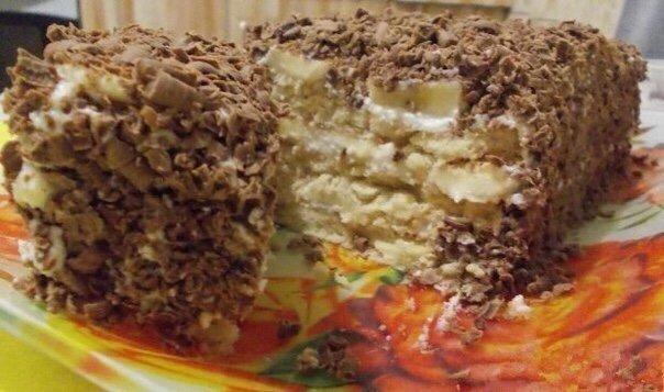 ВСЕГДА БЫСТРО И ВСЕГДА ВКУСНО Творожный торт с печеньем..НУЖНО творог 250 гсахарное печенье 250 гбананы 2 штсгущенное молоко 3-4 ст. ложкишоколад 100 гГОТОВИМ В творог добавить сгущенное молоко,