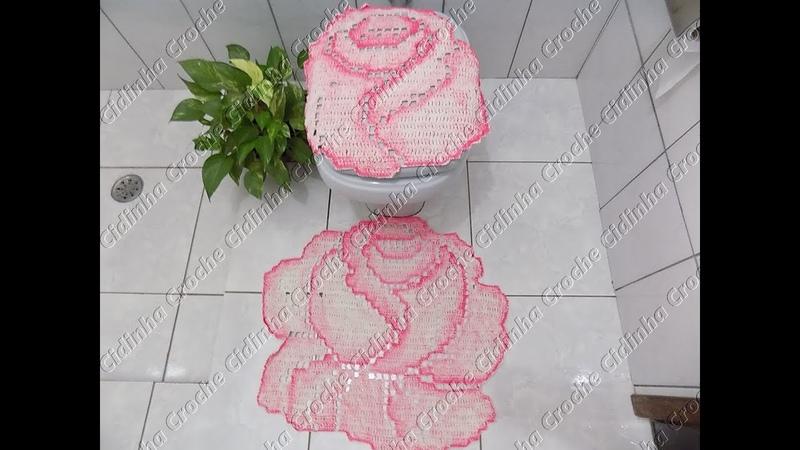 Cidinha Croche Jogo De Banheiro Em Croche Rosas Tapete Pia Pé Vaso Passo A Passo Parte 2 3