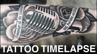 TATTOO TIMELAPSE | ROSE AND MICROPHONE | LINKIN PARK | CHRISSY LEE