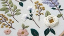 Lilac and cherry blossom. Embroidered Botanical elements for beginners