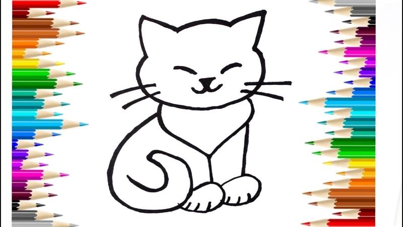 Как нарисовать кошку Животные раскраска мультик для детей учим цвета