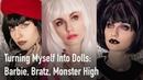 Turning Myself Into Dolls Barbie, Bratz, Monster High Превращаю себя в кукол