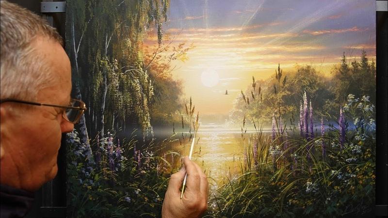 Sunny morning (Summer landscape) Acrylic. Artist - Viktor Yushkevich. 23 photos in 2020.