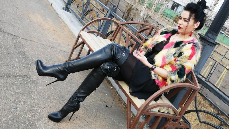 Kristina's Gianmarco Lorenzi platform over the knee leather stiletoo boots Size EU 38 US 7 5
