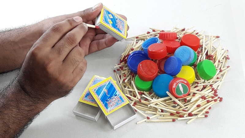 Waste Matchbox plastic bottle caps crafting for Beautiful Home deco DIY decorating idea