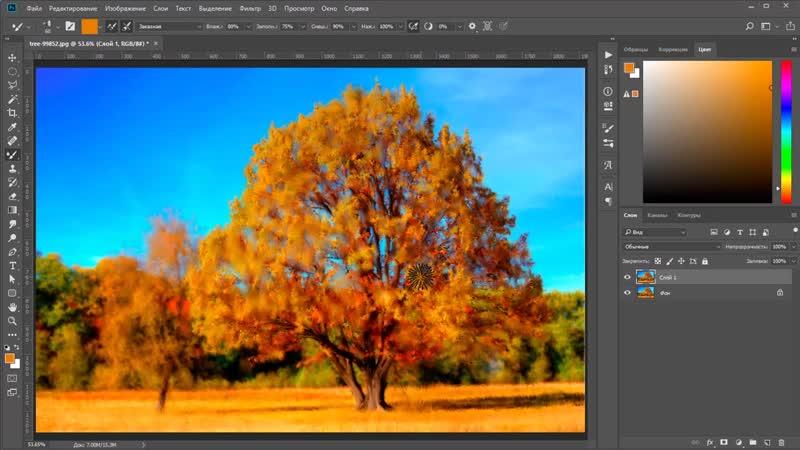 Превращаем фотографию в картину _ Микс-кисть в Photoshop