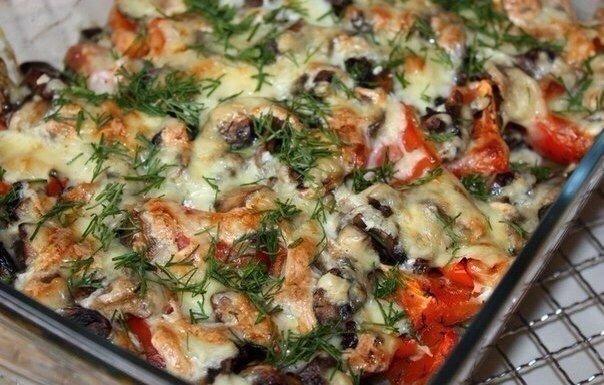 Нежная Запеканка с картофелем, фаршем и грибами