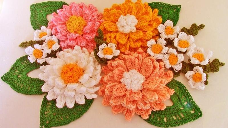 Como tejer fácil y rápido flores con hojas en ramos Make learning to Knit quick crochet