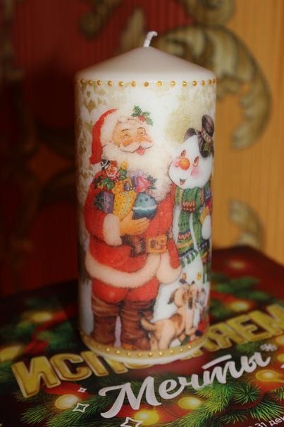 Свеча Новогодняя Дед Мороз и Снеговик Декупаж (ручная работа).