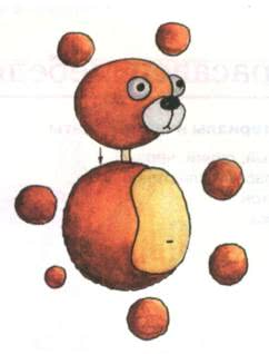 Простые поделки из пластилина - Плюшевый мишка 1. Из коричневого пластилина скатайте 1 большой шар туловище, 1 шар поменьше голову, 4 небольших шарика лапки, 3 маленьких шарика уши и хвост. 2.