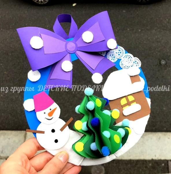 Зимние новогодние поделки - круглая гирлянда «Новогодний дворик» Шаблон прилагается.