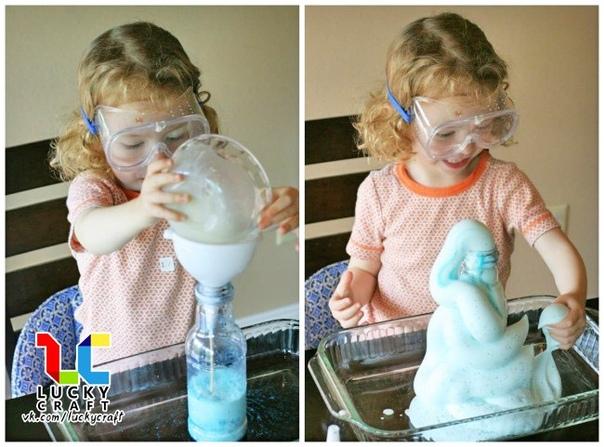 Занимательный эксперимент для детей: Зубная паста для слона Материалы: Пластиковая бутылка, поднос, сухие дрожжи, 6%-ная перекись водорода, пищевой краситель, жидкое мыло или жидкость для мытья