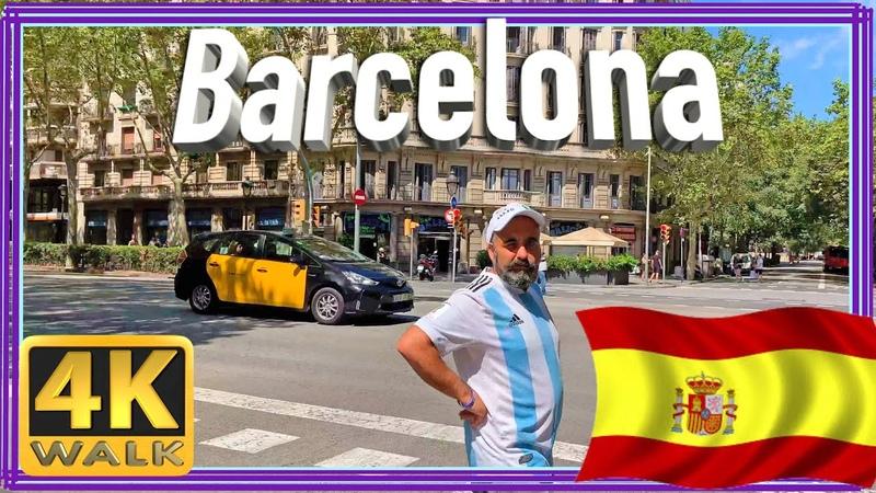 【4K】WALK Gran via BARCELONA 2019 España walking tour 4k SPAIN
