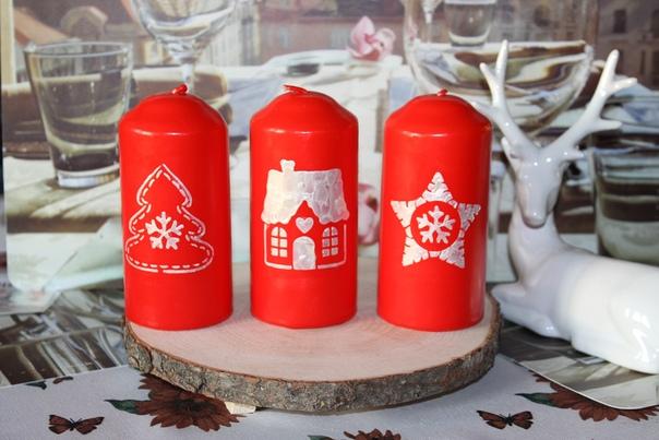 Свечи ручной работы в Скандинавском стиле В работе использованы краски для свечей.
