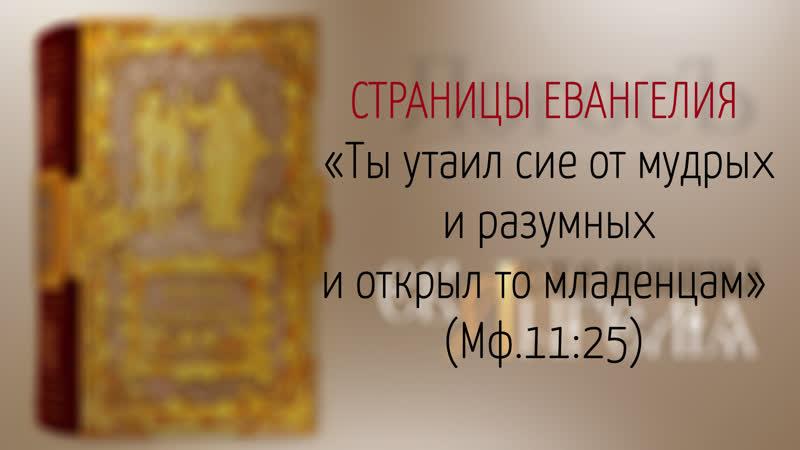 Страницы Евангелия Ты утаил сие от мудрых и разумных и открыл то младенцам Мф 11 25