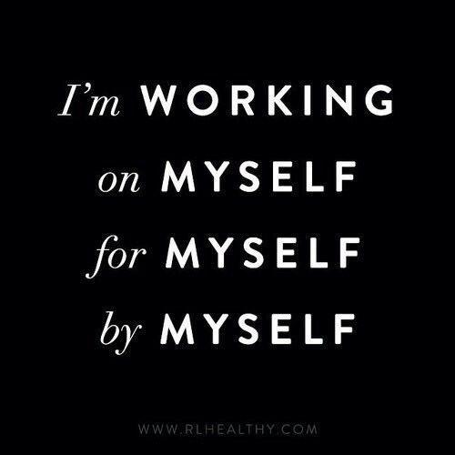 Я работаю над собой (on) для себя самого (for) и сам, самостоятельно (by).