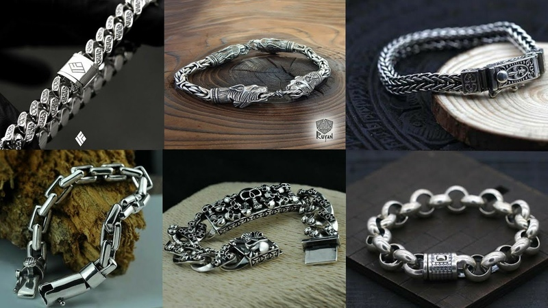 Latest Silver Bracelet Design For Men Men's Stylish Hand Chain Bracelet Collection 2018