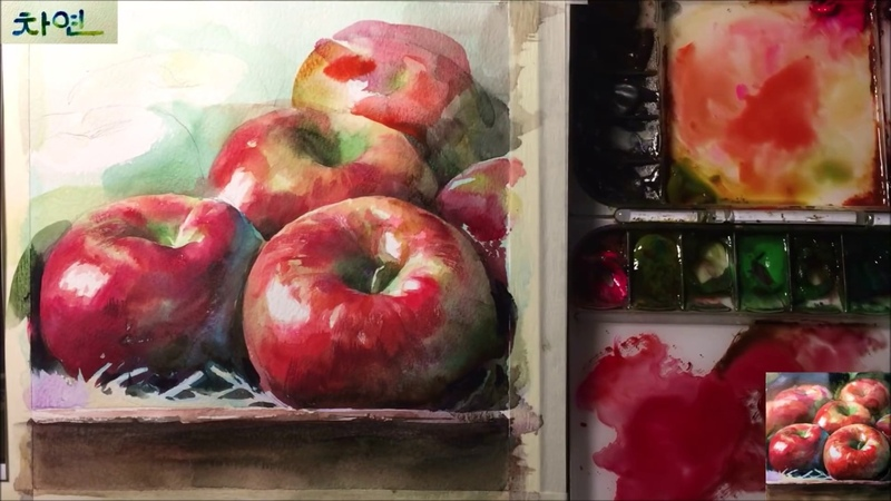 Still life watercolor Watercolor painting of apples 사과 정물 수채화 사과 그리기 정물화