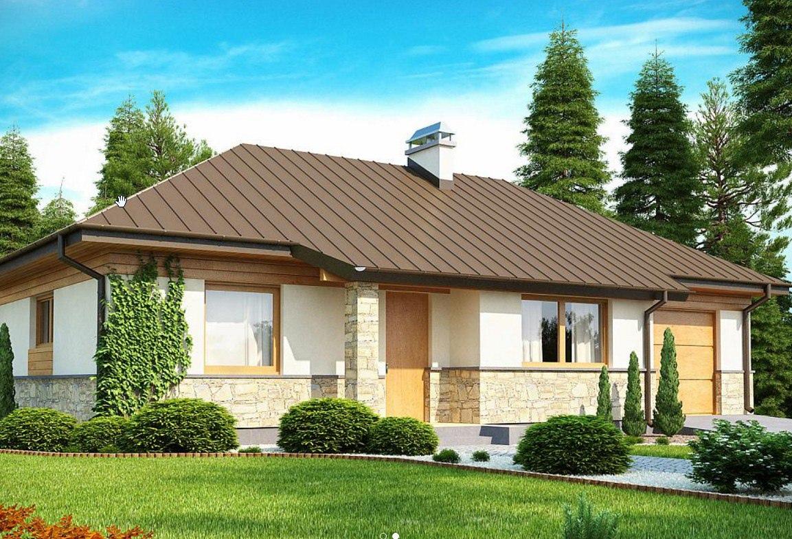 Проект дома с пристроенным гаражом.