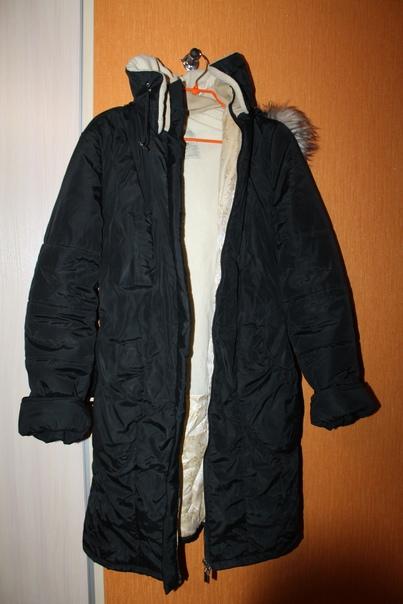 Чёрное пальто 44-46 размер. Две вставки: для пузик...