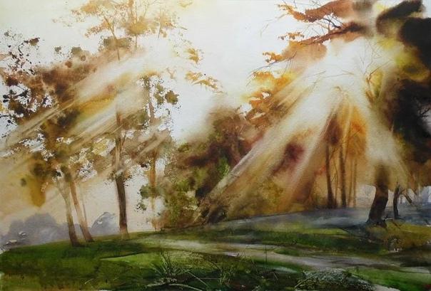 Игра света, ощущение свежего воздуха, наполненного ароматами земли и растительности, отсутствие сценических планов, все это приятно отличает Илью Ибряева от других художников Очень родные