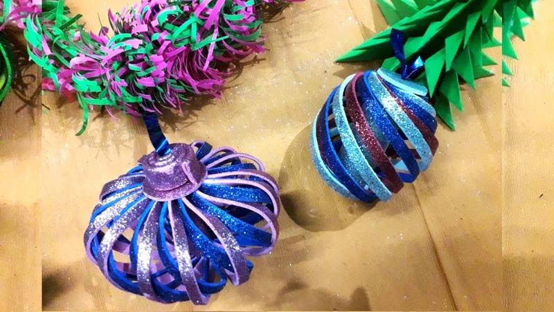DIY 2 Chirstmas Tree Decoration Ornaments Handmade Craft Ideas Glitter foam