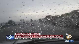 Rain, thunder, lightning in San Diego