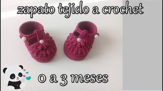 zapatito tejido a crochet 0 a 3 meses -bebe - flor pop corn