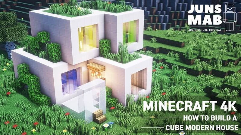 Minecraft tutorial How to build a cube house in minecraft ( Modern house ) 109