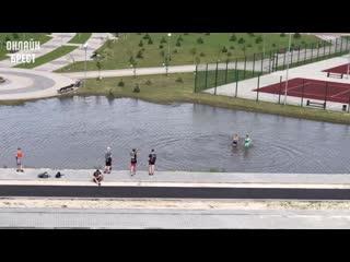 В Бресте в парке 1000-летия образовалось озерцо. В нём уже купаются люди
