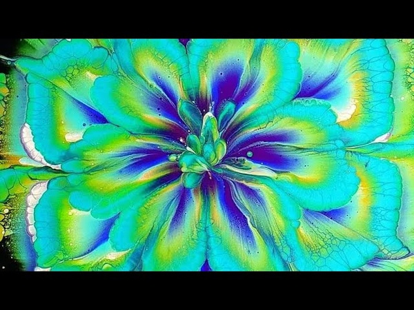 385 AWESOME acrylic pour FLOWER painting ~ Peacock colours ~ MUST SEE ~ Paint WithMe