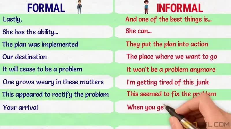 FORMAL vs INFORMAL EXPRESSIONS in English Формальные и неформальные выражения на английском языке