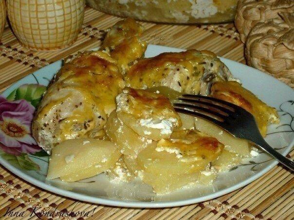 Ароматная Картошка с куриными ножками в духовке
