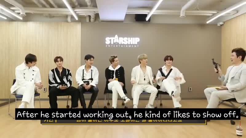 Minhyuk imitates changkyun's posture msn im