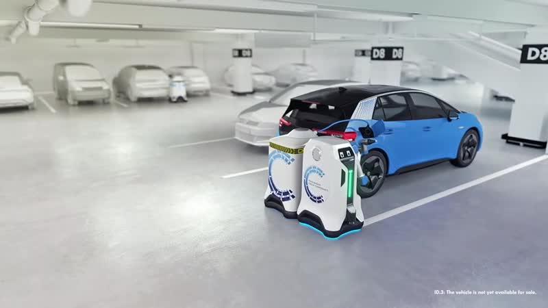 Инженеры Volkswagen придумали мобильного робота для зарядки электрокаров
