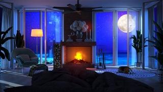 Ocean Waves Sounds - Deep Sleep and Fall Asleep Fast, Relaxing Sound, Crackling Fireplace